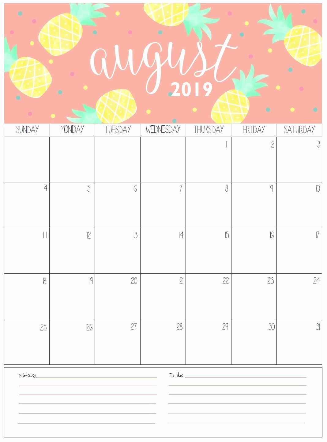 photo relating to Printable Calendar Aug named August 2019 Wall Calendar Template #August2019