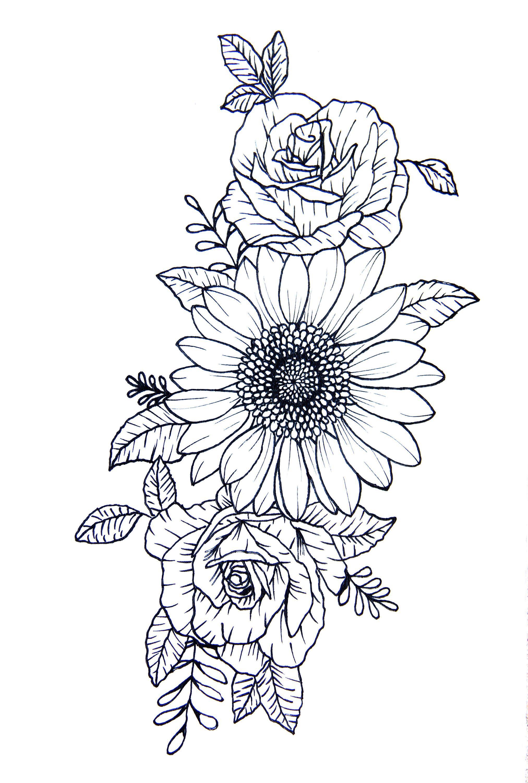 Digital File: Sunflower and Roses Hip Shoulder Rib Cage Tattoo Design