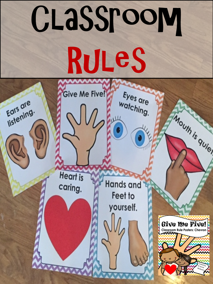 5 Rules Of Home Decor For First Time Buyers: Classroom Rule Posters (Chevron) Give Me Five!