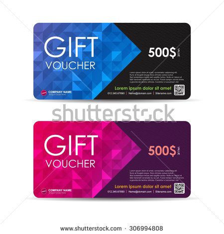Vector illustration,Gift voucher template with colorful pattern - free voucher design template