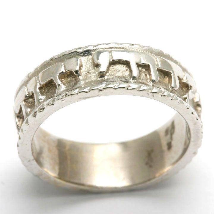 14k White Gold Ani Le Dodi Jewish Wedding Band Ring Ridge