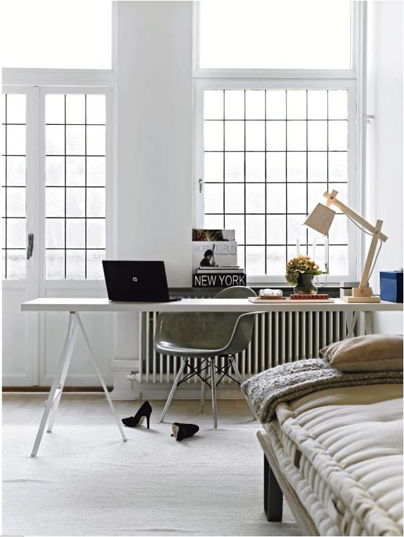 task lighting, windows, white.