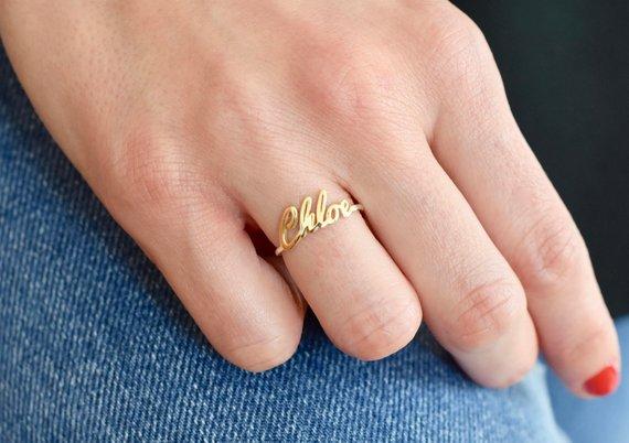 47eb3cd3cd 14K Gold Name Ring - Gold Ring - Name Ring - Name jewelry - Custom Name Ring  - Bridesmaid Gift - Per