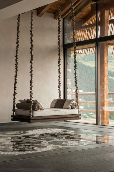 Traditional Swing For Living Room: Switzerland Chalet Trois Couronnes