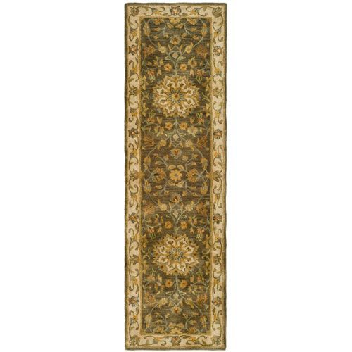 Heritage Green and Taupe Runner: 2 Ft. 3 In. x 8 Ft. In. Area Rug - (In Runner)