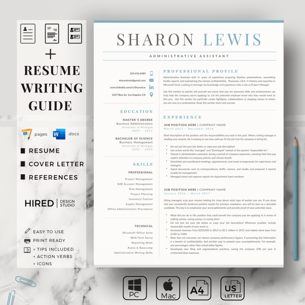 R47 Sharon Lewis Administrative Assistant Resume Example For Ms Word And Mac Pages Professional Resume Cv Template Cover Letter Format References Administrative Assistant Resume Cover Letter For Resume Cover Letter Format