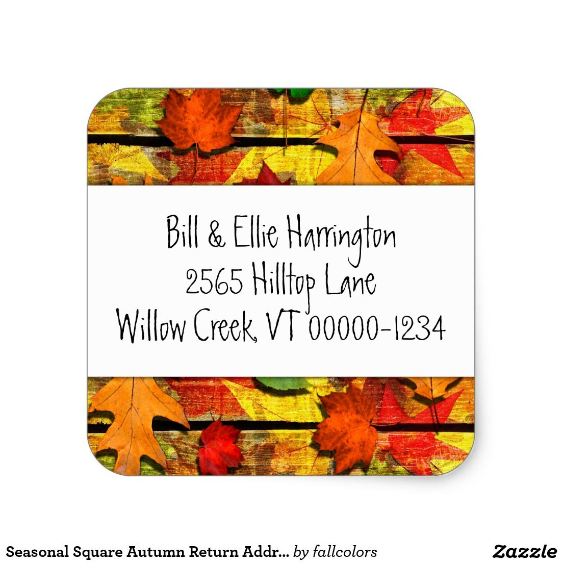 seasonal square autumn return address labels