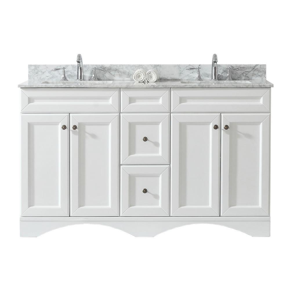 Virtu Usa Talisa 60 In W Bath Vanity In White With Marble Vanity