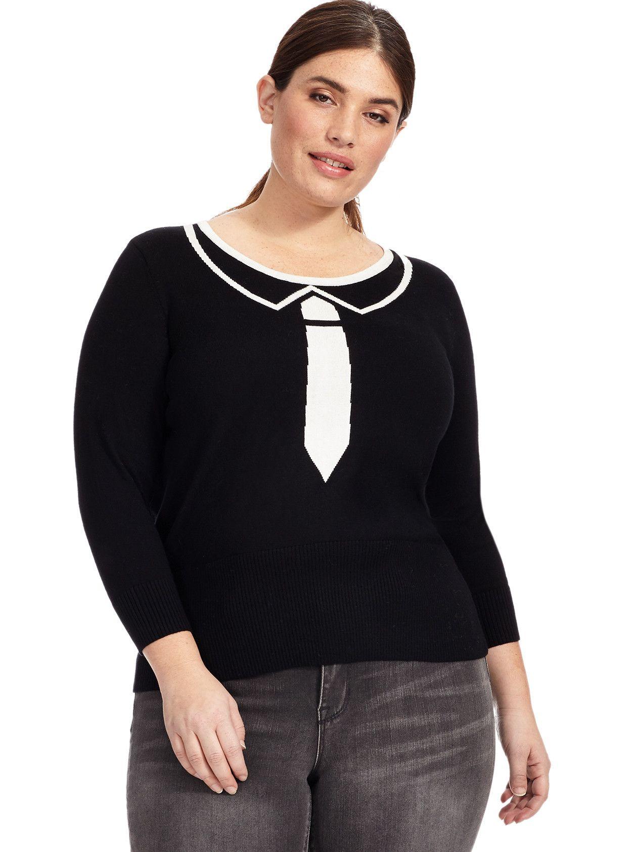 Necktie Pullover Sweater