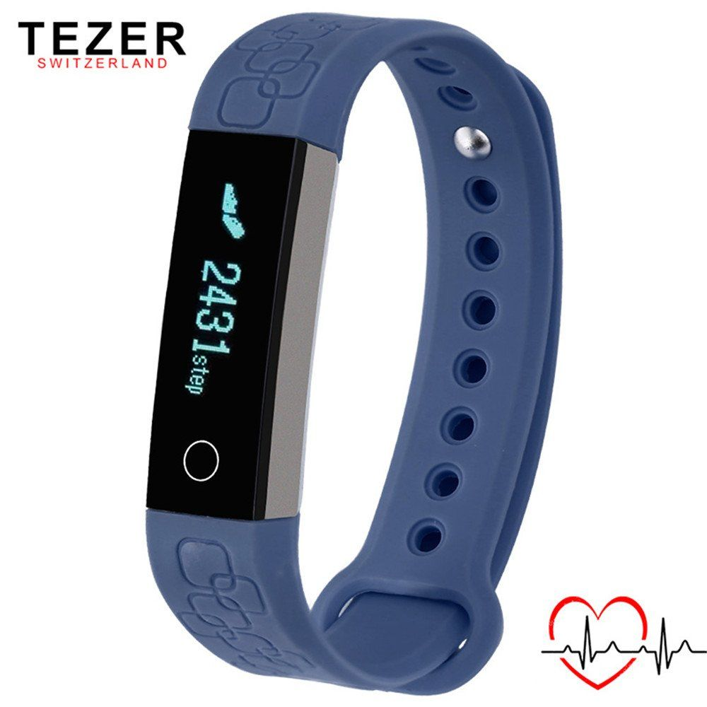 TEZER NEW R3 Passometer Sport Smart Bracelet Heart Rate Monitor Wristband Wearable Sensor Bluetooth 4.0 (Dark Blue). Built-in USB Charging;Indicator Light;Light Weight. Comfortable Wear: The device is very comfortable to wear as it is made almost entirely out of silicone and is very smooth. Attach it to your wrist is very easy as everything just sort of snaps into place thanks to the stretchy silicone material. Function: Passometer,Fitness Tracker,Sleep Tracker,Message Reminder,Call...