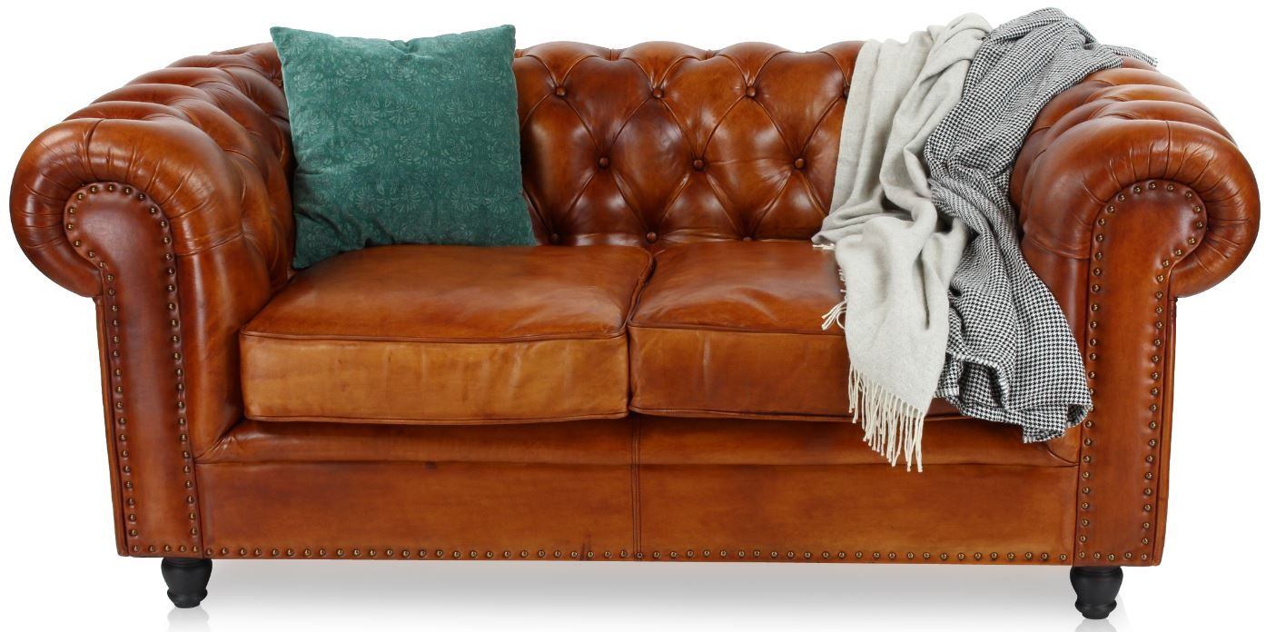Canape Chesterfield Cuir Marron Clair 2 Places Chesterfield Canape Chesterfield Marron Clair