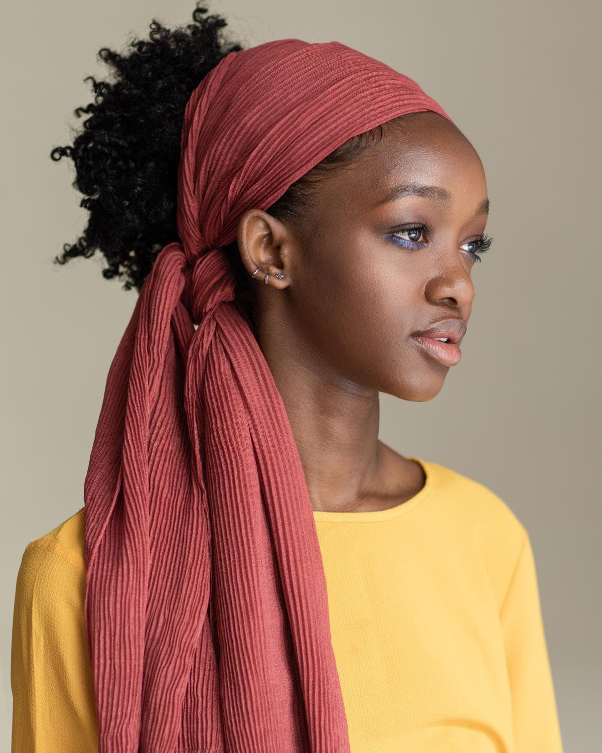 Easy and casual using mauvie head wrap with images