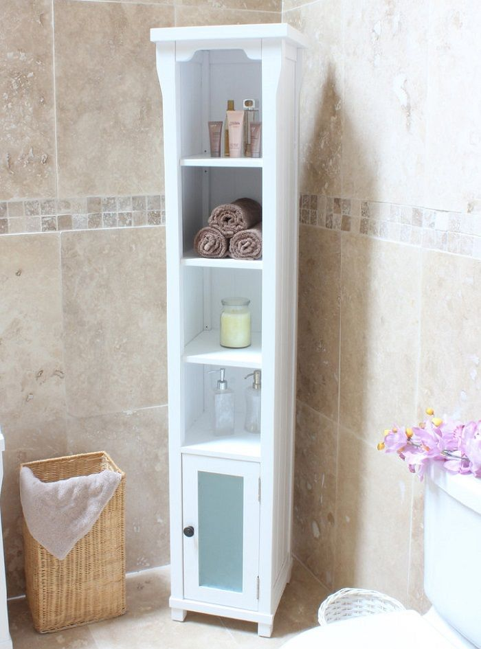 Tall solid wood bathroom cabinet made from ash and painted white