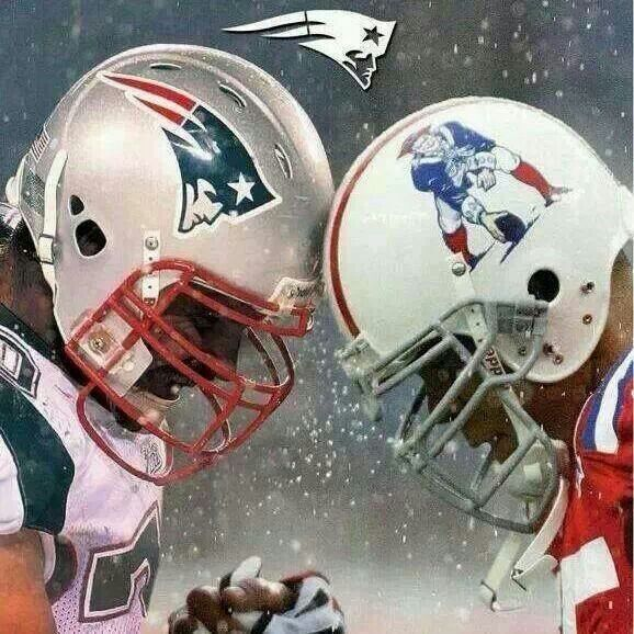 New England Patriots past and present helmet. I love the throwback helmets  with the red uniforms. 9783f69df