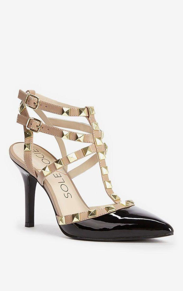 Elegant studded slingback heel