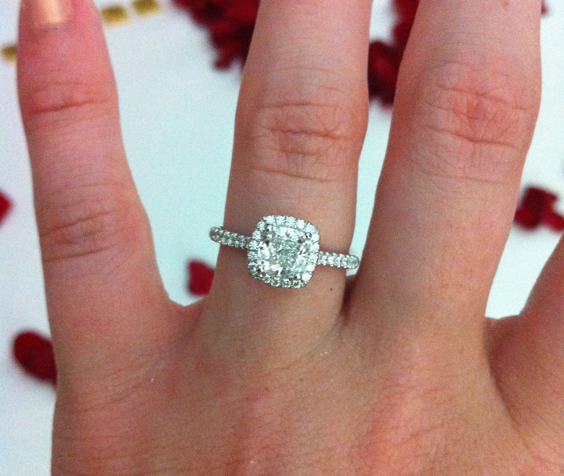 853159d34abd7 14K White Gold Pavé Halo Engagement Ring with Cushion Cut Diamond ...