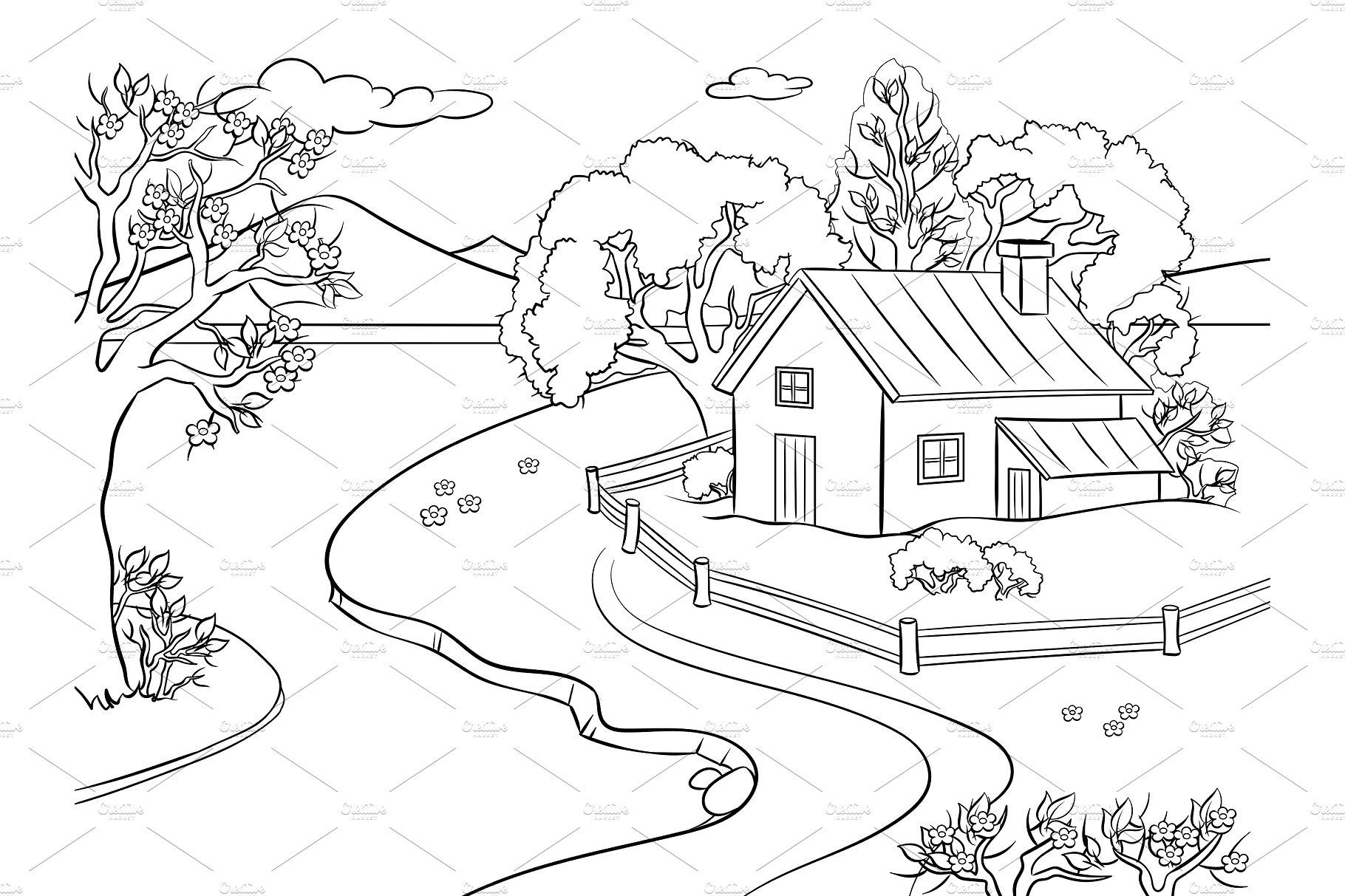 Spring landscape coloring book vector by AlexArt on