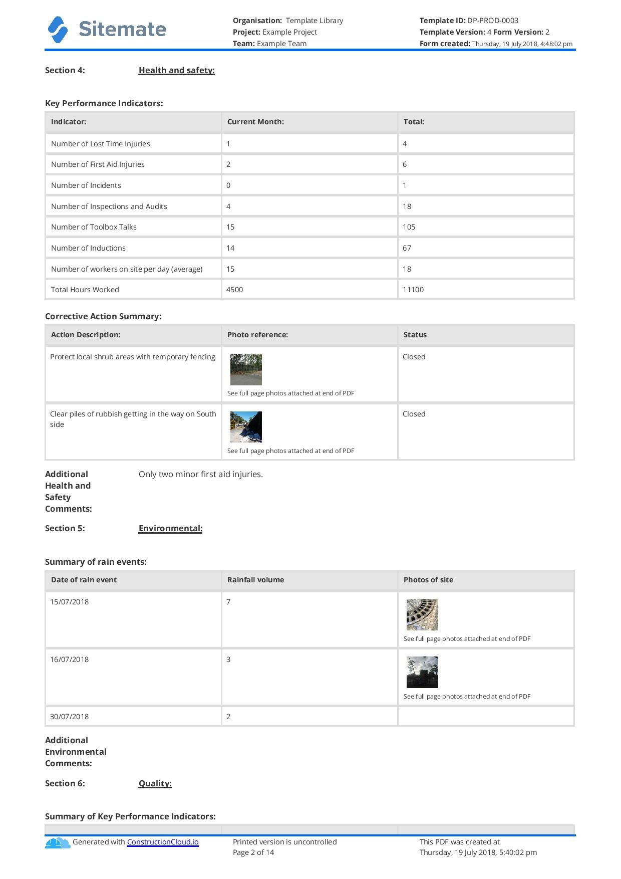 Monthly Health And Safety Report Template (7