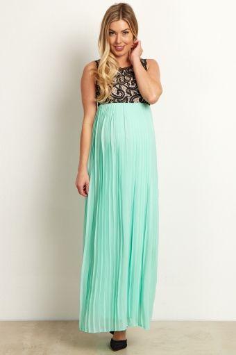 b6384c03453 Mint Green Pleated Chiffon Lace Top Maternity Maxi Dress