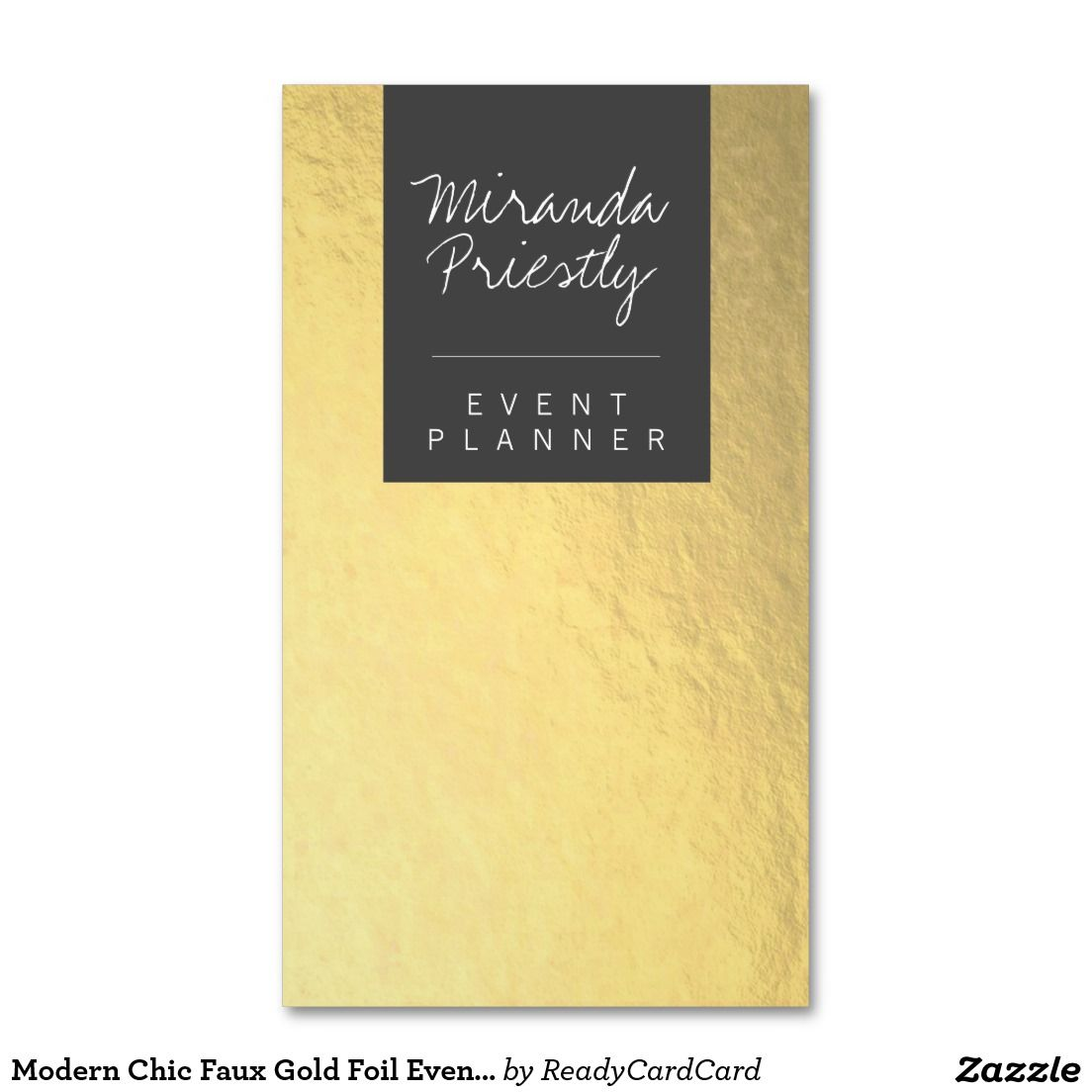 Modern Chic Faux Gold Foil Event / Wedding Planner Business Card ...