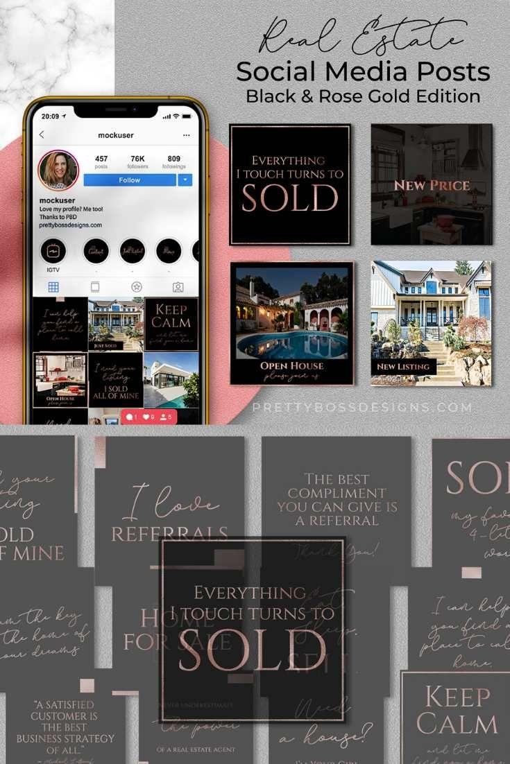 Real Estate Instagram Posts, Black & Rose Gold Edition