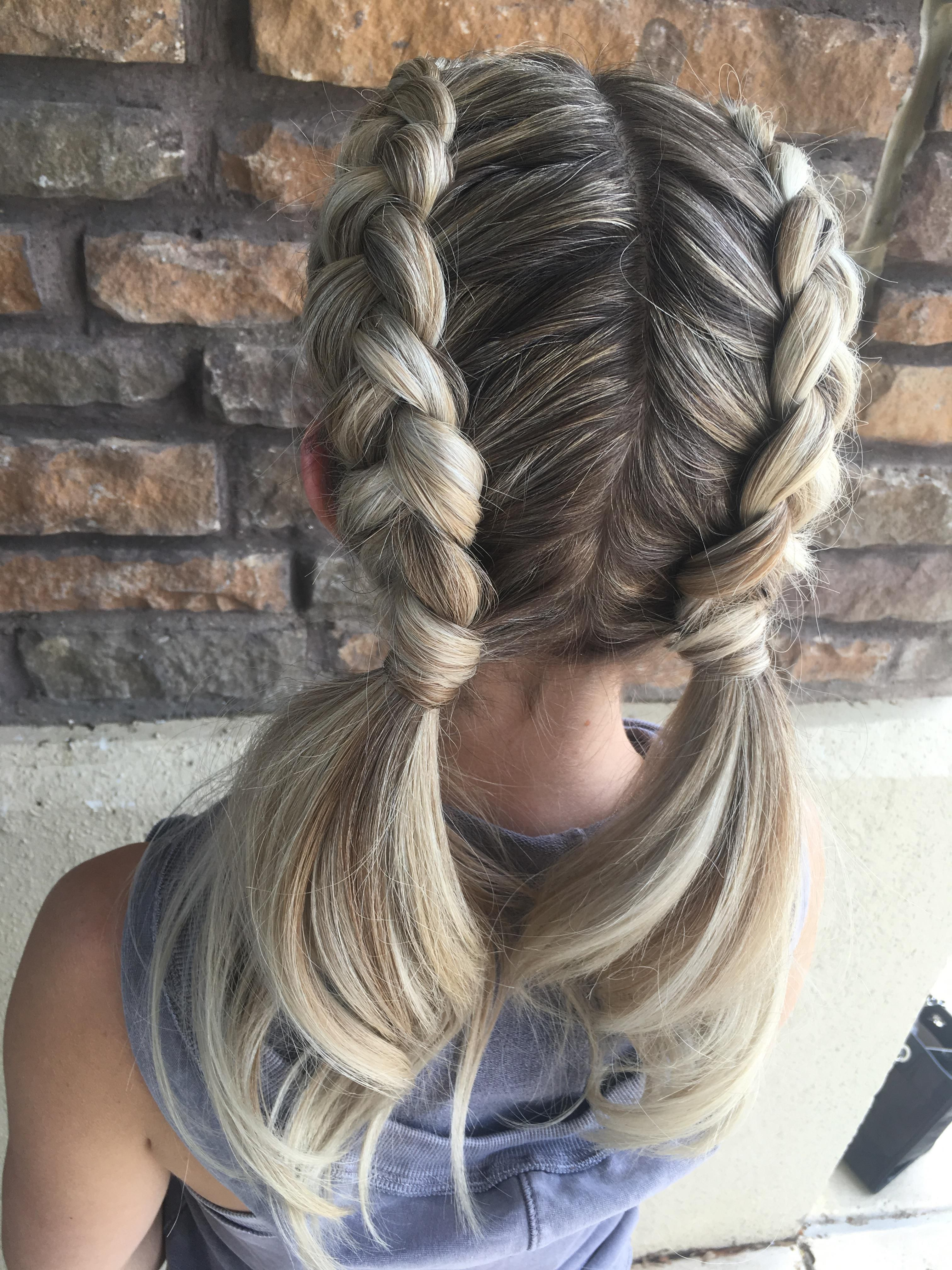 Braids Buns And Ponys 35 Two Dutch Braids Into Low Pig Tails 3 Hair Styles Competition Hair Dutch Hair