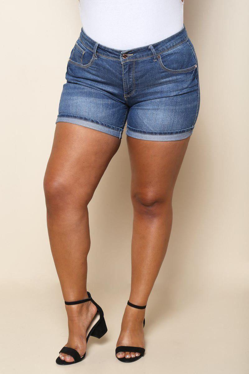 Plus size medium rise shorts denim products pinterest products