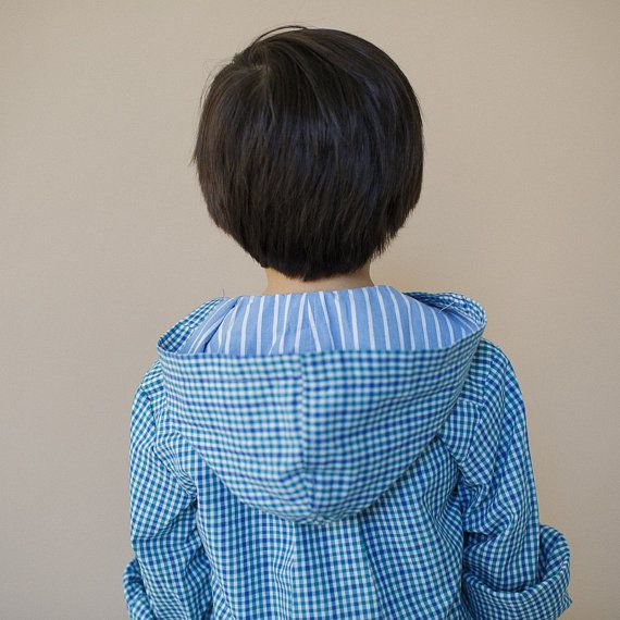 HOODED SPRING SHIRT with contrast hood for Girls & Boys Size 8 to 9 {made from old mens shirt!}