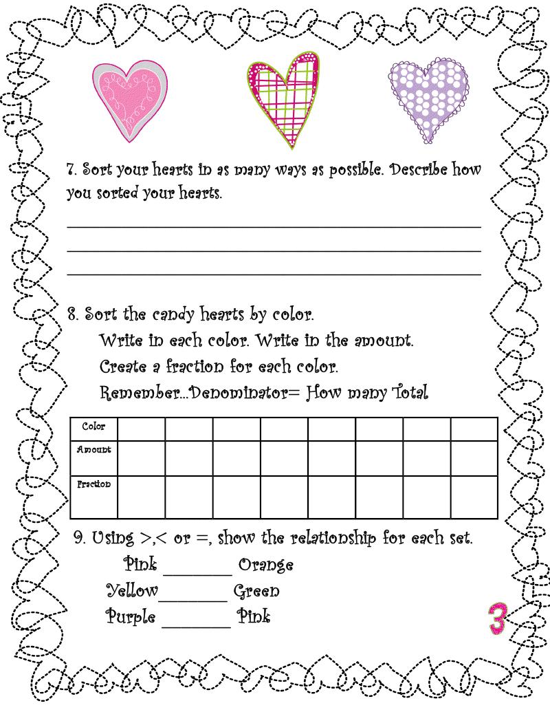 Valentine 39 s Day Heart Candy Math Worksheets   Valentine ...