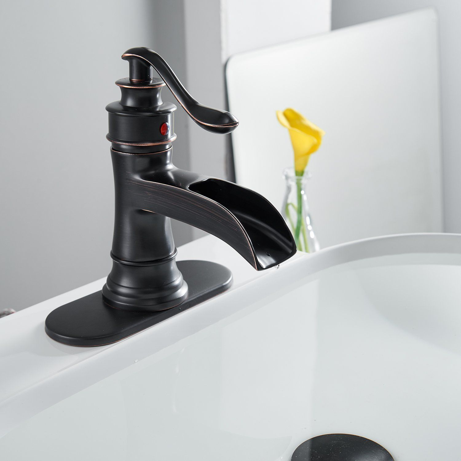 Bwe Waterfall Spout Single Handle Bathroom Sink Faucet Basin Mixer Taporb Oil R Oil Rubbed Bronze Bathroom Faucets Bathroom Sink Faucets Bronze Bronze Bathroom