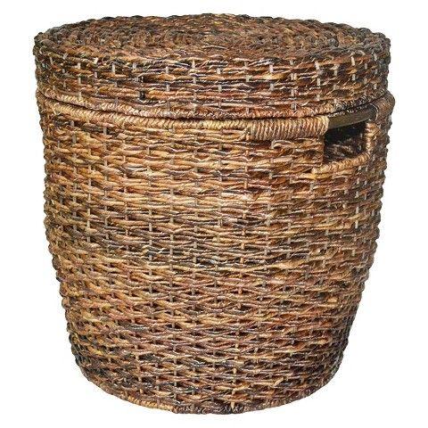 Large Wicker Tapered Storage Basket Dark Global Brown