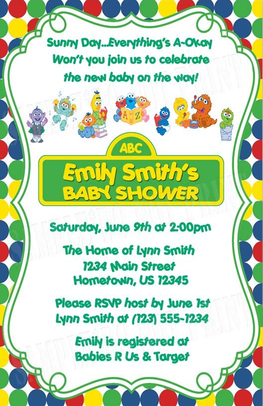 Beautiful DIY PRINTABLE   Sesame Street Baby Shower Birthday Party Invitations $12.00