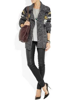 Notify                                  Bamboo mid-rise skinny leather jeans