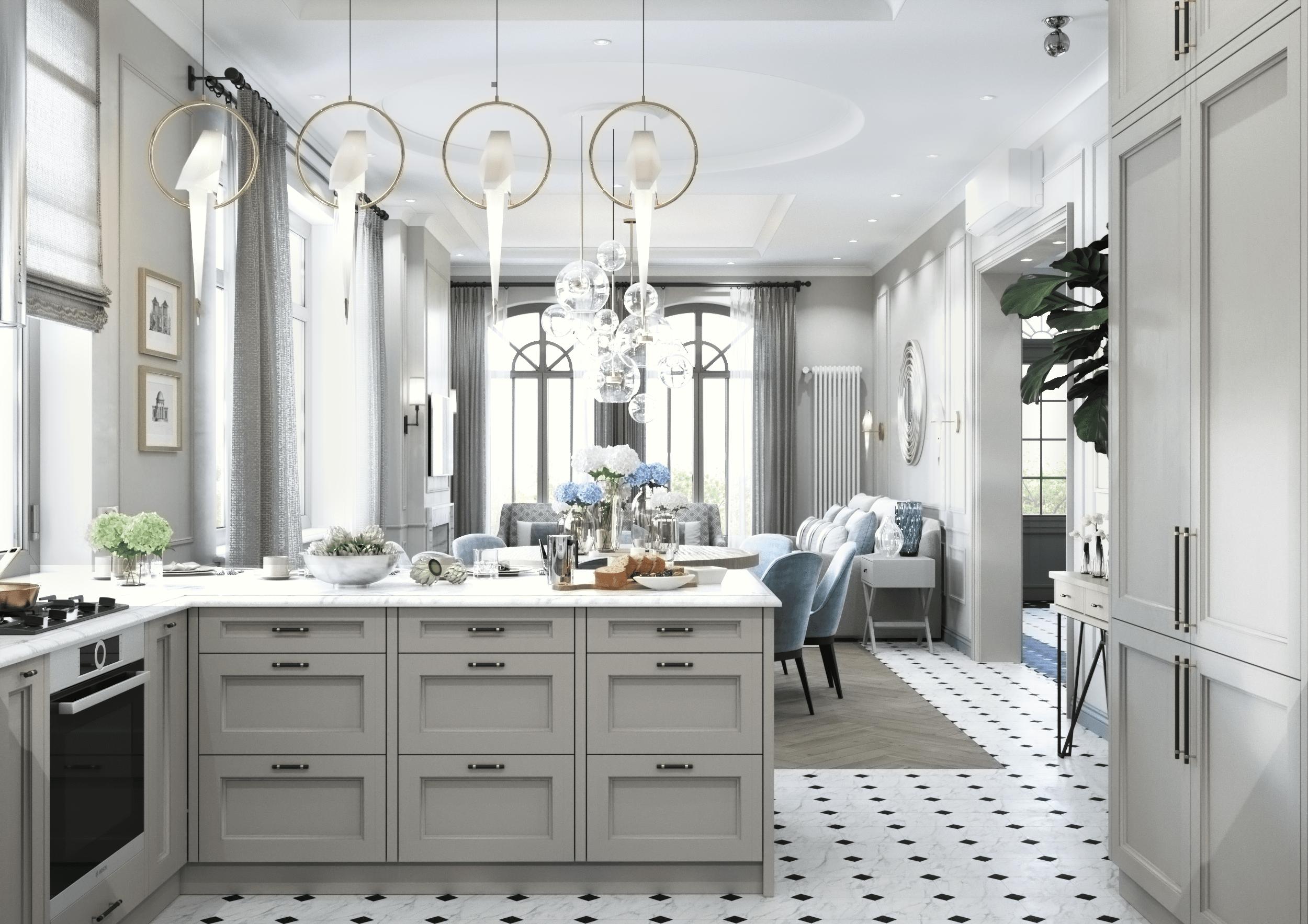 серая светлая кухня мечты студия совмещенная дизайн ...