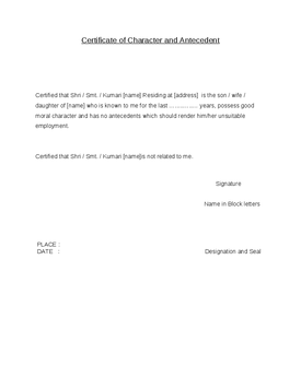 Sample Good Moral Character Letter Template For From Employer