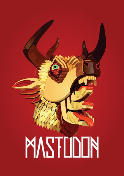 mastodon the hunter album cover, wooden head sculpture