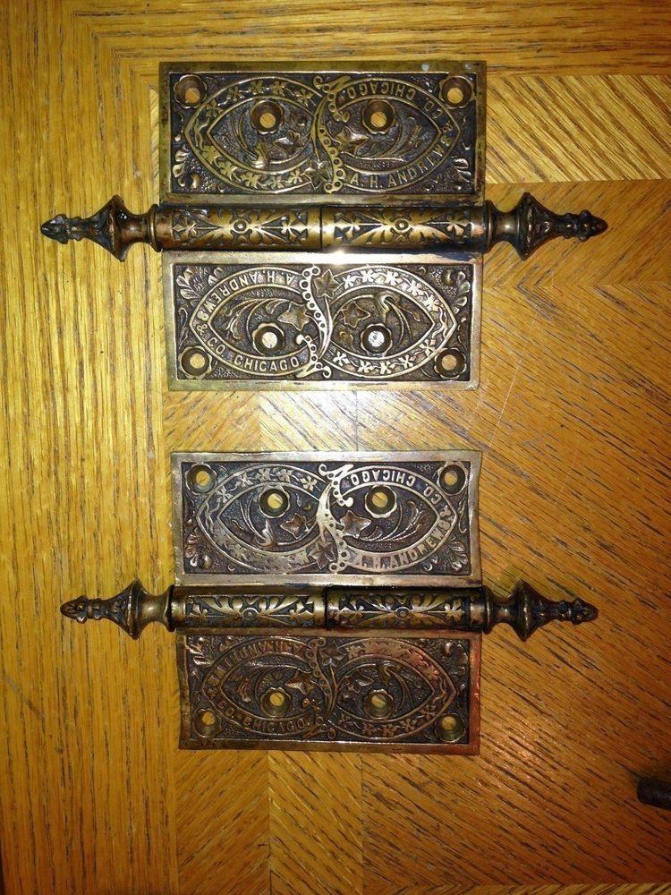 Antique solid bronze heavy A.H Andrews & Co Chicago door hinges brackets  #AHAndrewsCoChicago - Antique Solid Bronze Heavy A.H Andrews & Co Chicago Door Hinges