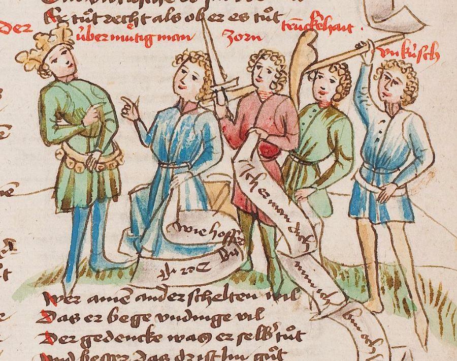 Wolfenbüttel, Herzog August Bibliothek, Thomasin <Circlaere> Welscher Gast (W) — Süddeutschland, 3. Viertel des 15. Jhs. Cod. Guelf. 37.19 Aug. 2° Folio 94r