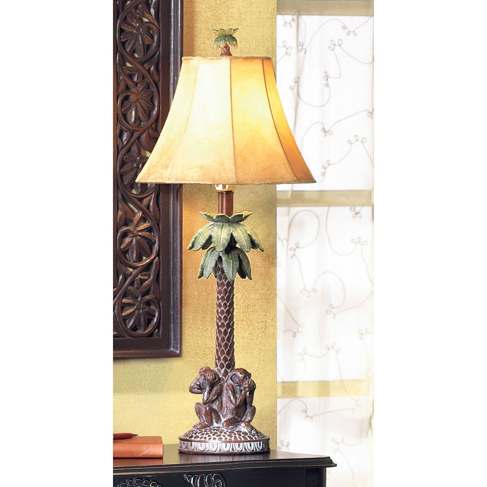 See Hear Speak No Evil Monkeys Under Palm Tree Desk Table Lamp Table Lamp Beach Themed Lamps Tree Lamp