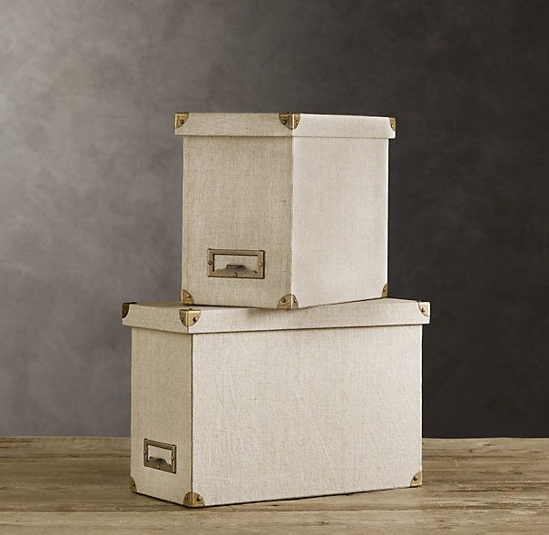 linen desktop file box - Decorative File Boxes