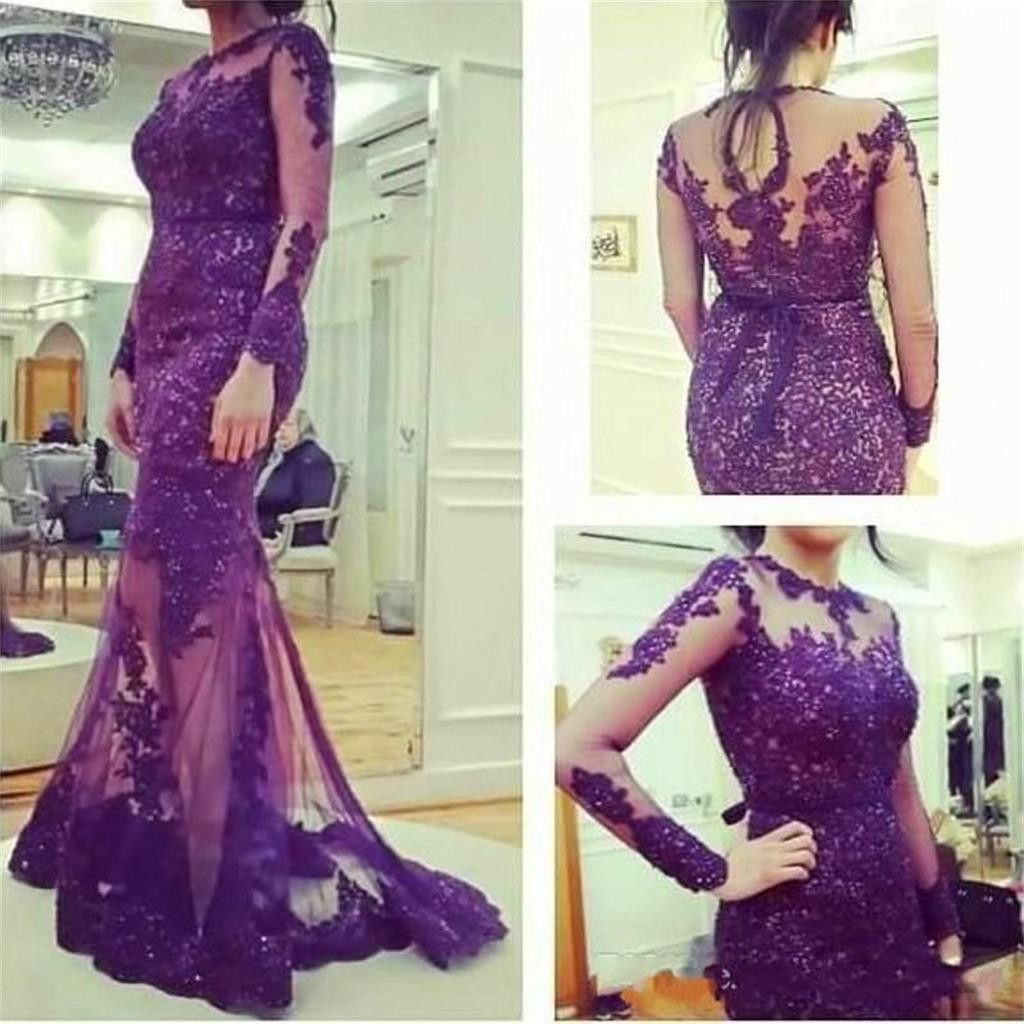 Purple Lace Long Sleeves Long Mermaid Prom Dress, Evening Party ...
