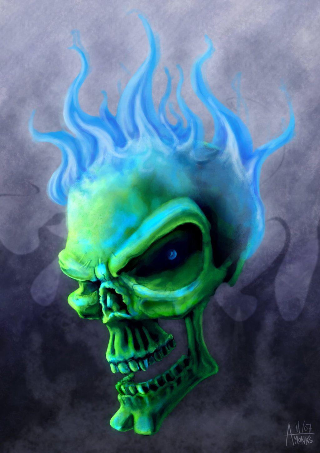 Blue Flame Skull by trickmonkeyart | Skulls* Blue/Green ...