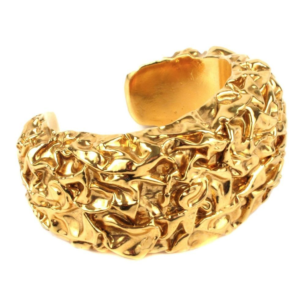 Chanel bracelet rare vintage cuff textured wide gold bangle s cc