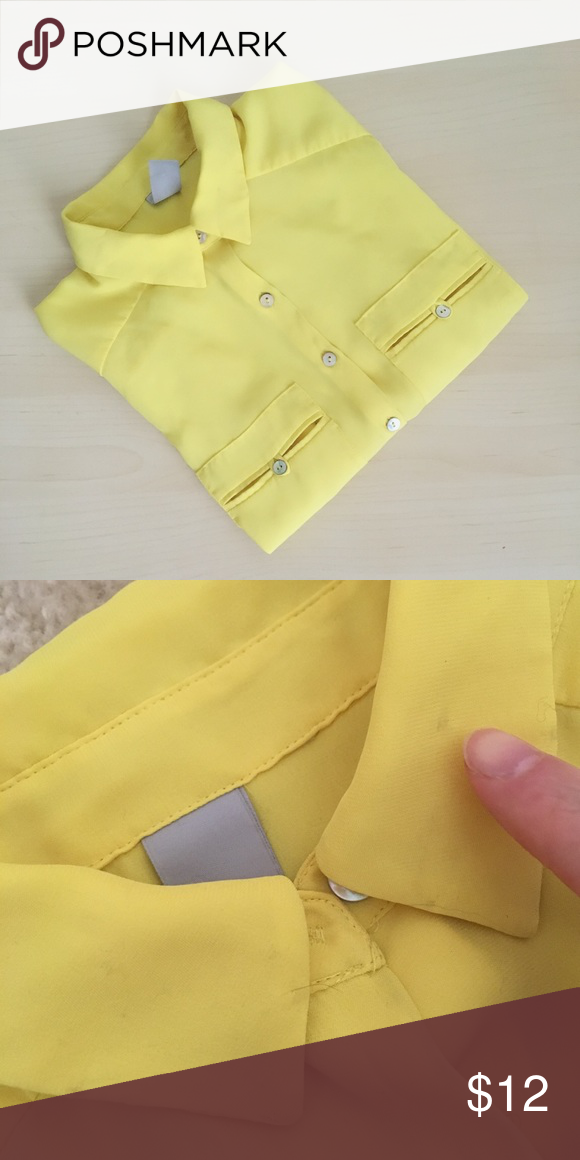 """h&M lemon yellow chiffon button-down shirt Chiffon sheet shirt, 3/4 roll-up sleeves. 100%poly. US  size 2, chest 16.5"""", length 25.5"""". Buttons are like pearl. Washed once but never worn. One thing to point out is there are 8 tiny needle marks on the collar, because I used to sew beads on it. Shown as pic 4🚫no trade H&M Tops Button Down Shirts"""