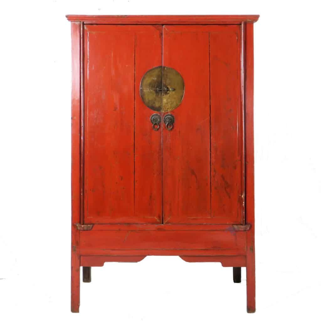 Antique Chinese Red 2 door Wedding Cabinet 71 inch tall - Antique Chinese Red 2 Door Wedding Cabinet 71 Inch Tall Doors