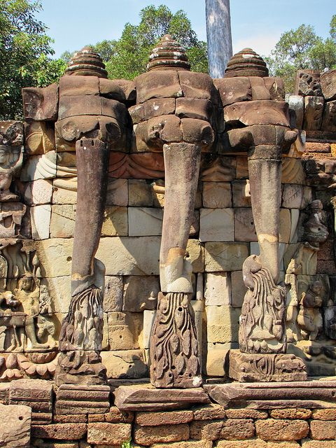 Terraza De Los Elefantes Angkor Monumentos Camboya Y Laos