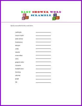 A Fun Collection Of Free Printable Baby Shower Games And Ideas Such As  Bingo, Nursery Rhyme Game, Mad Lib.