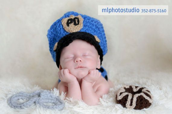 Police Officer Set Crochet Baby Boy Hat, Diaper cover, Doughnut and ...
