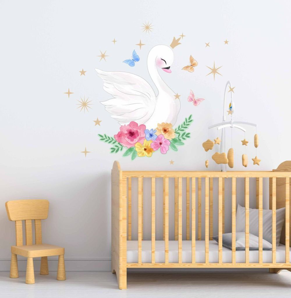 Swan Wall Decal Nursery Decals Fabric Wall Decal Girl Wall