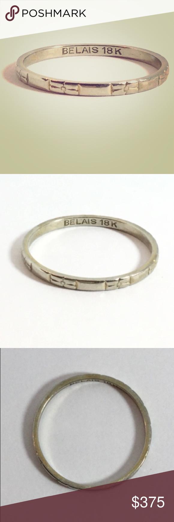 ��belais Vintage 18k White Gold Wedding Band Ring Art Deco Belais: Vintage Belais 18k Wedding Band At Websimilar.org